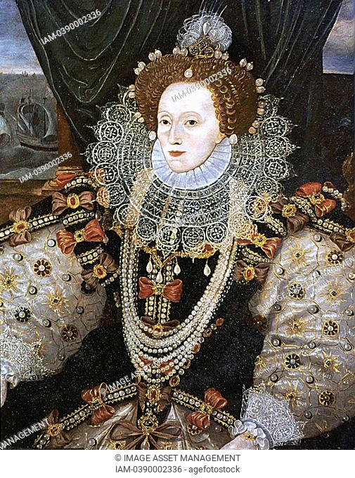 Elizabeth I 1533-1603 Queen of England and Ireland from 1558, last Tudor monarch  Version of the Armarda portrait attributed to George Gower c1588