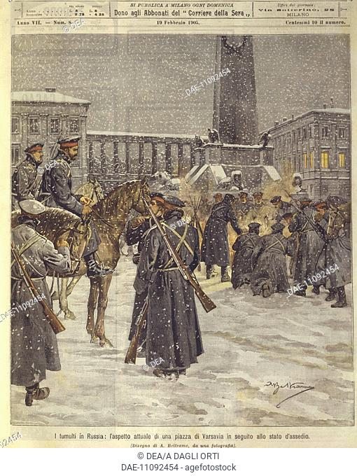 History, 20th century - Riots in the Russian Empire; the appearance of a Warsaw square after the siege. Cover illustration from La Domenica del Corriere