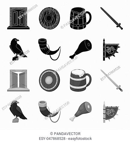Sitting crow, horn with drink, ham, victory flag. Vikings set collection icons in black,monochrome style bitmap symbol stock illustration