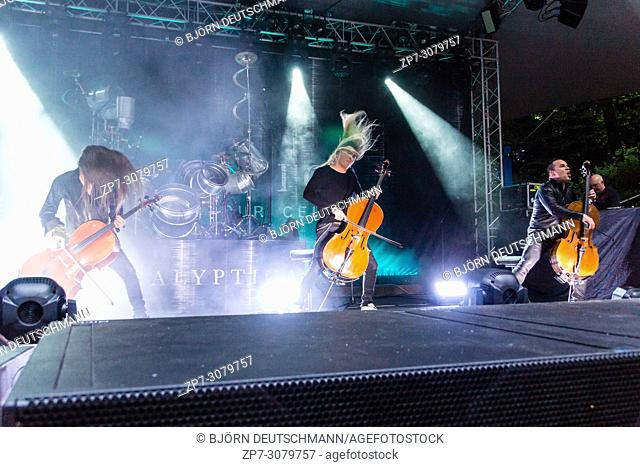 """Kiel, Germany. 17th June, 2018. The Band """"""""Apocalyptica"""""""" is performing in the Freilichtbühne Krusenkoppel during the Kieler Woche 2018"""