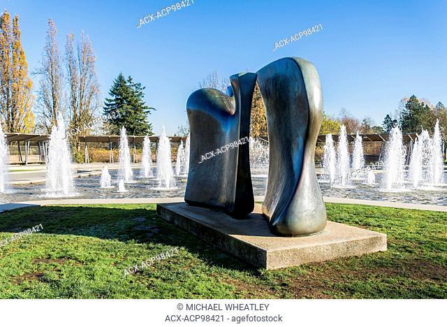 Henry Moore sculpture 'Knife edge', Bloedel Conservatory fountain, Queen Elizabeth Park, Vancouver British Columbia, Canada