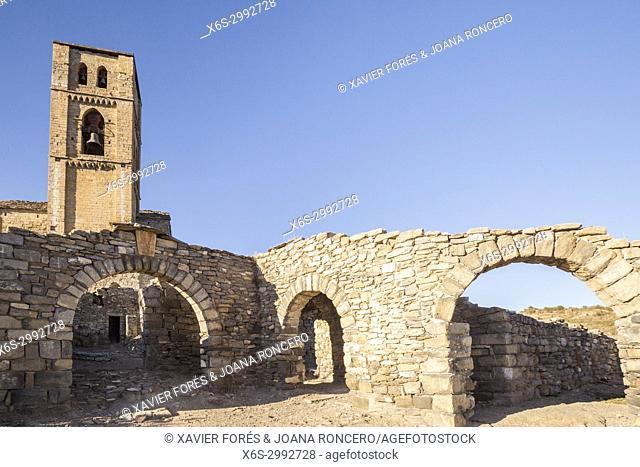 Santa Maria de Baldos church in Montañana village in Ribagorza, Huesca, Spain