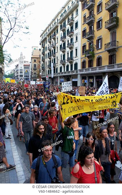 -Crowds of Indignants Movement 15M- Barcelona (Spain)