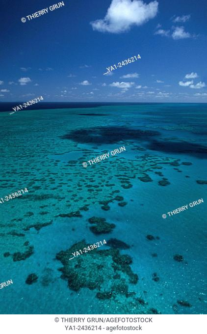 Australia, Queensland, north of Whitsunday islands, Greef barrier reef, Hook reef aerial view