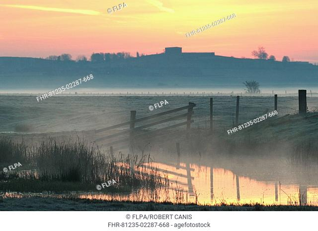 View of coastal grazing marsh in mist and frost at sunrise, Elmley Marshes N N R , Isle of Sheppey, Kent, England, spring