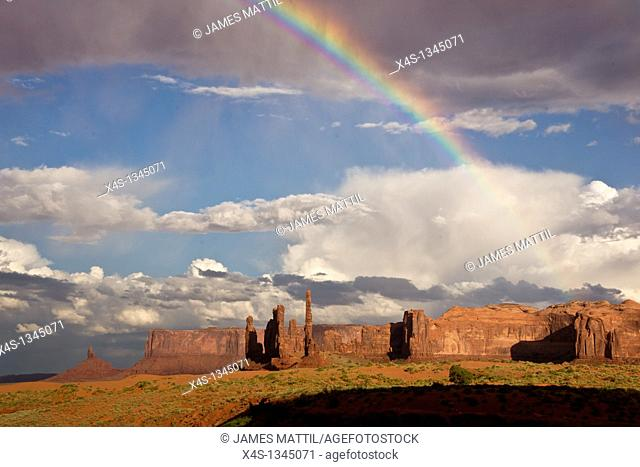 A rainbow in Monument Valley after a summer storm