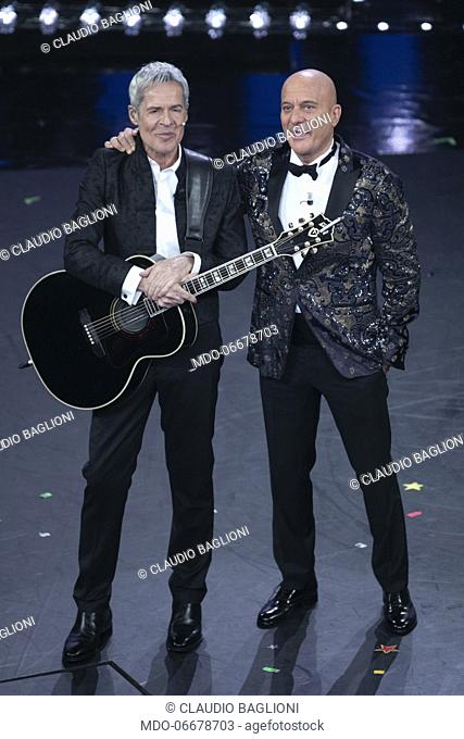 Claudio Baglioni and Claudio Bisio during the first evening of the 69th Sanremo Music Festival. Sanremo (Italy), February 5th, 2019