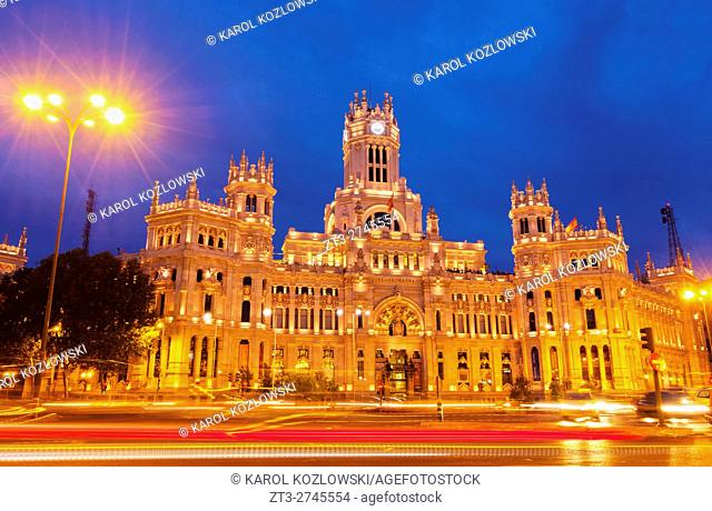 Spain, Madrid, Plaza de Cibeles, Twilight view of the Cybele Palace