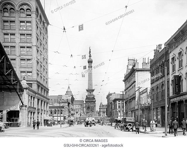 West Market Street, Indianapolis, Indiana, USA, Detroit Publishing Company, 1907