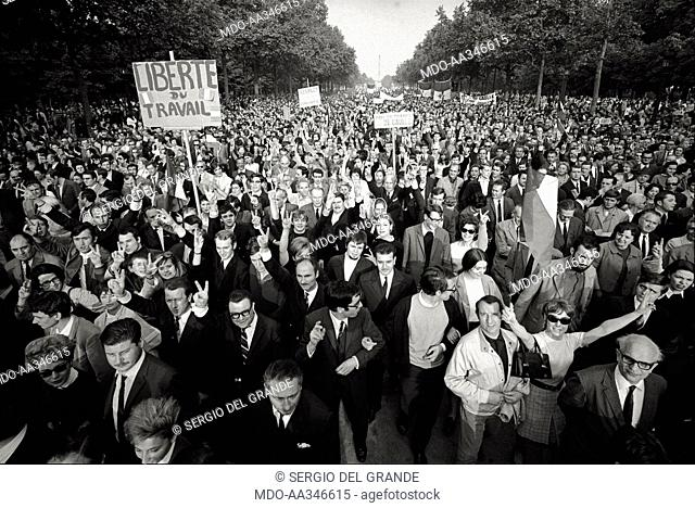 The risk of a revolution in Paris has been averted. Placards exalting 'work freedom', the end of strikes, and the support to President De Gaulle in a...