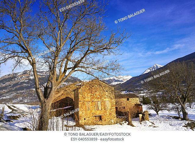Benasque stone house Benas in Huesca Pyrenees of Spain
