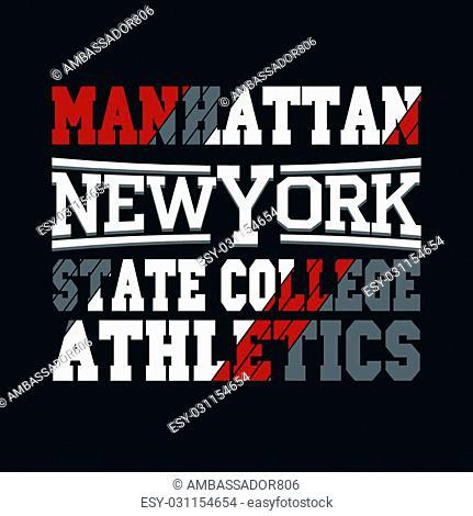 New York City Typography Graphics, Manhattan T-shirt Printing Design, USA original wear, Print for sportswear apparel - vector illustration