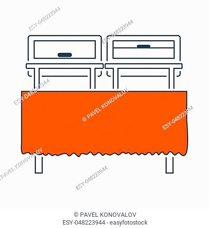 Icon Of Chafing Dish. Thin Line With Red Fill Design. Vector Illustration