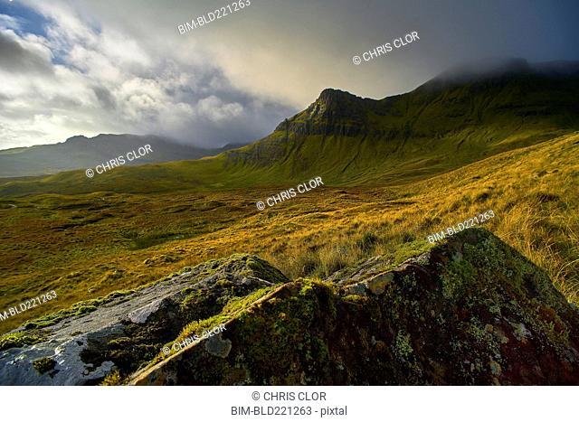 Rock formation on rural hillside