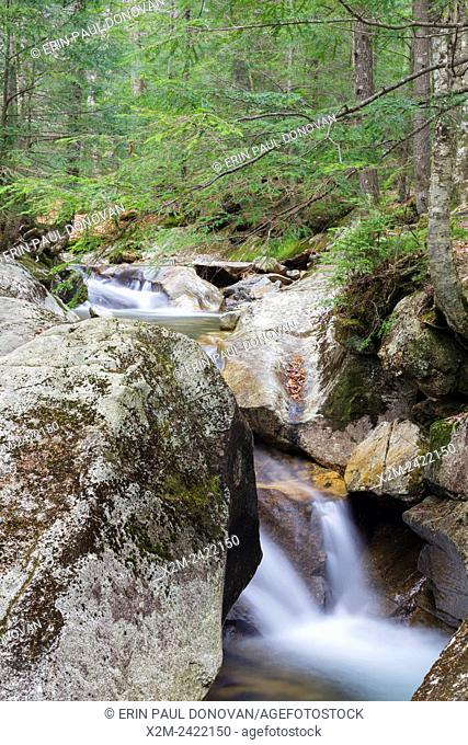 """Franconia Notch State Park - The Pemigewasset River near the """"""""The Basin"""""""" viewing area in Lincoln, New Hampshire USA during the autumn months"""