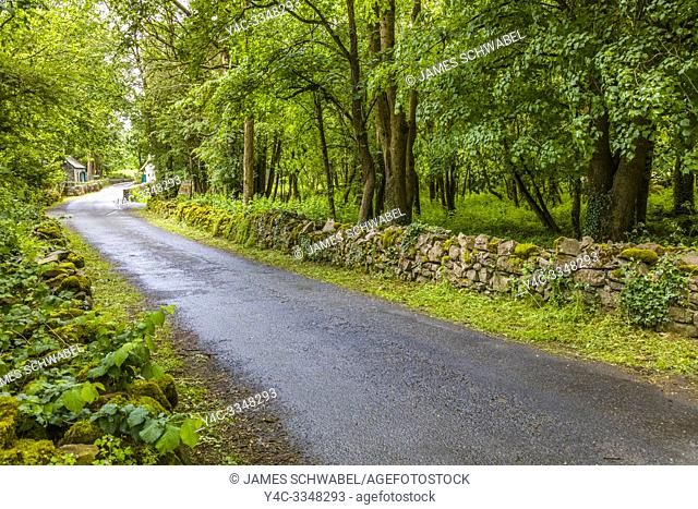 Road at Thoor Ballylee Castle or Yeats Tower built 15th or 16th century lived in by poet William Butler Yeats in town if Gort County Galway Ireland