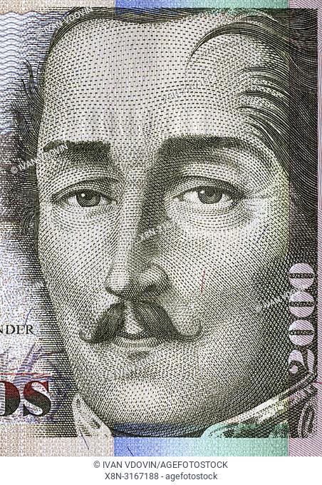 Portrait of Francisco de Paula Santander,from 2000 pesos banknote, Colombia, 2013