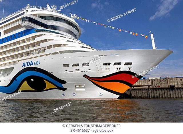 Cruise ship AIDAsol at cruise terminal Hamburg Cruise Center, Hamburg, Germany