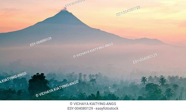 Panorama of Mount Merapi