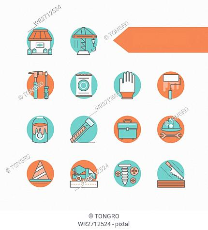 Various icons related to construction
