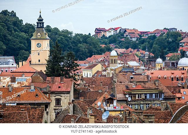 Aerial view with former City Hall of Brasov, Romania called Council House (Casa Sfatului) at Council Square