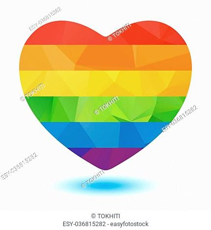 Polygonal rainbow heart isolated on a white background