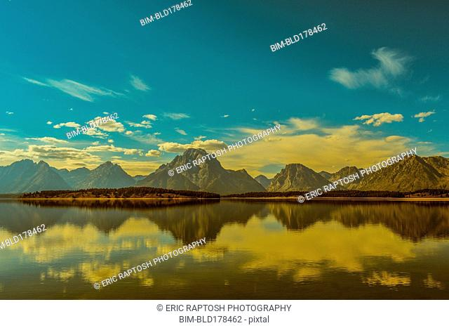 Reflection of mountains in remote lake