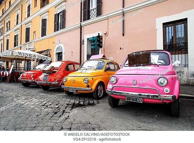 Fiat cinquecento in the streets of Rome, Italy