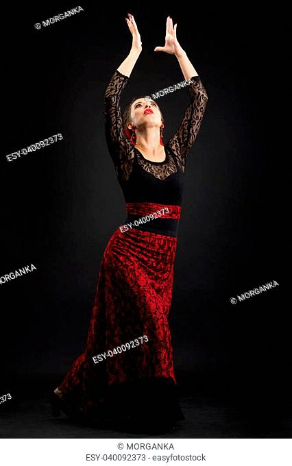 Flamenco dancer in black and red dress