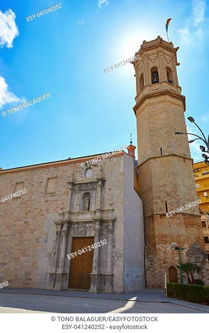 El Salavador church and Templat belfry in Burriana of Castellon also Borriana