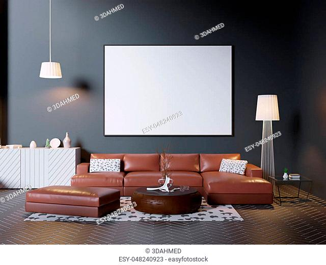 mock up poster frame in hipster interior background, Scandinavian style, 3D render, 3D illustration studio, style, template, up, urban, wall, white, wooden