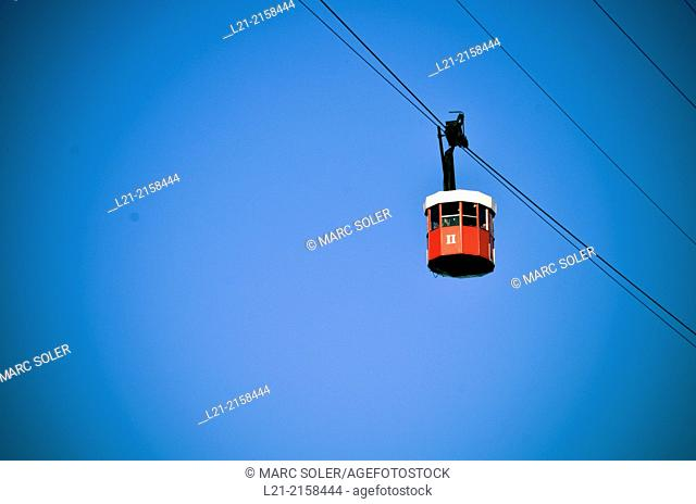 Red cable car. Harbour, Barcelona. Catalonia, Spain