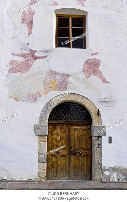 Italy, South Tirol, Vinschgau, Mals, Burgeis, Benedictine cloister Marienberg, church, outside