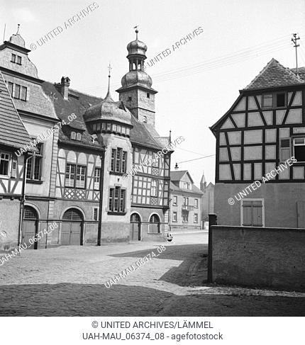 Das Alte Rathaus von Lorsch an der Bergtraße, Deutsches Reich 1930er Jahre. The old town hall of Lorsch at Berstraße, Germany 1930s