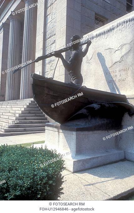 Massachusetts, New Bedford, Buzzards Bay, Whale Fishing Monument in downtown New Bedford, Massachusetts
