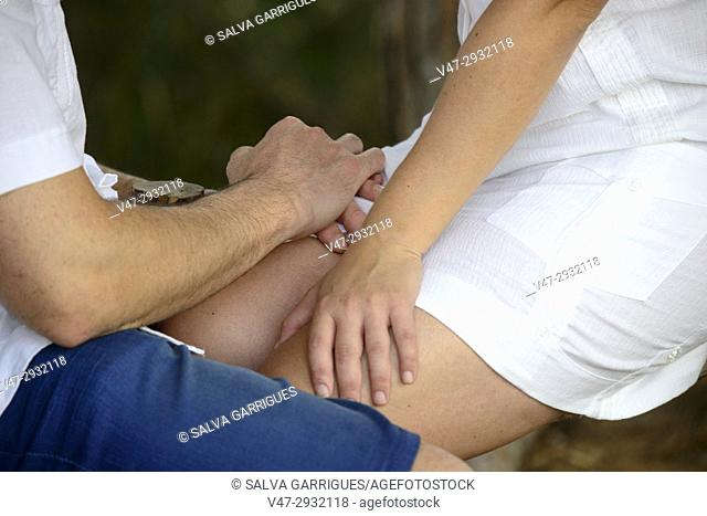 Couple holding hands in the Albufera of Valencia, Spain