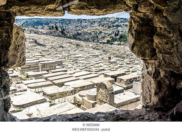 Israel, Jerusalem, View from Mount Olivet over Jewish cemetary