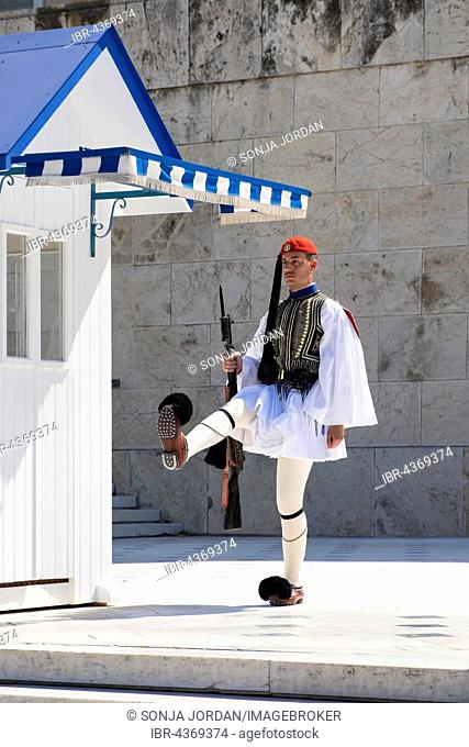 Evzone in front of the Tomb of the Unknown Soldier, in front of Parliament on Syntagma Square, Athens, Greece