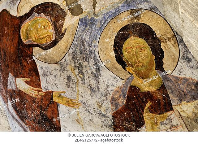 Religious frescoes at Vardzia, a cave monastery built during the 12th century. Georgia, Caucasus, Samtskhe-Javakheti, Akhaltsikhe area
