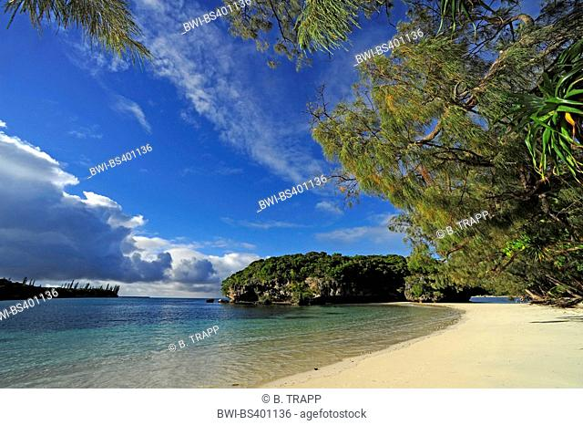 sandy beach of Kanumera bay, New Caledonia, Ile des Pins, Kanumera