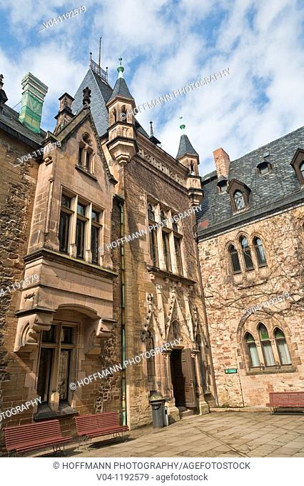 The inner court of the castle of Wernigerode, Harz, Saxony-Anhalt, Germany, Europe