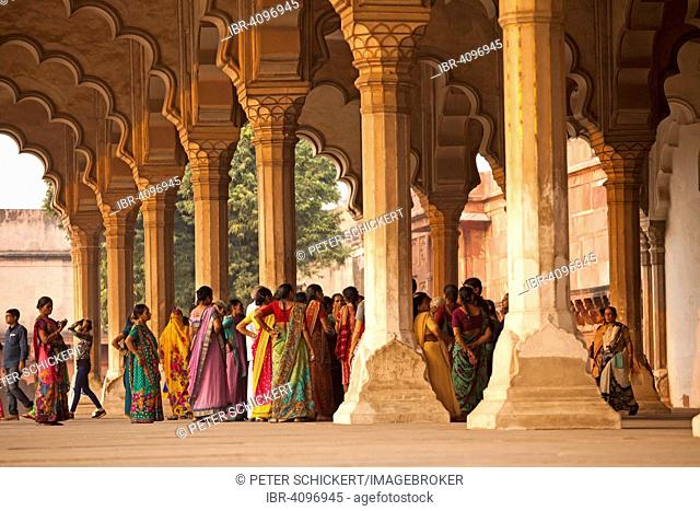 Visitors in the portico in the Red Fort, Agra, Uttar Pradesh, India