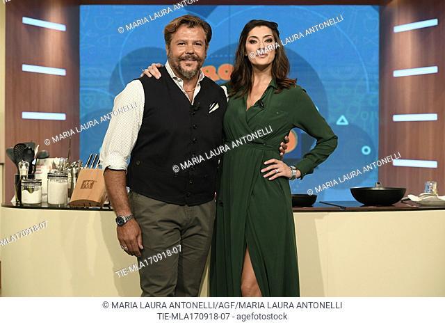 Former rugby player Andrea Lo Cicero, tv host Elisa Isoardi during the tv show La prova del cuoco, Rome, ITALY-17-09-2018