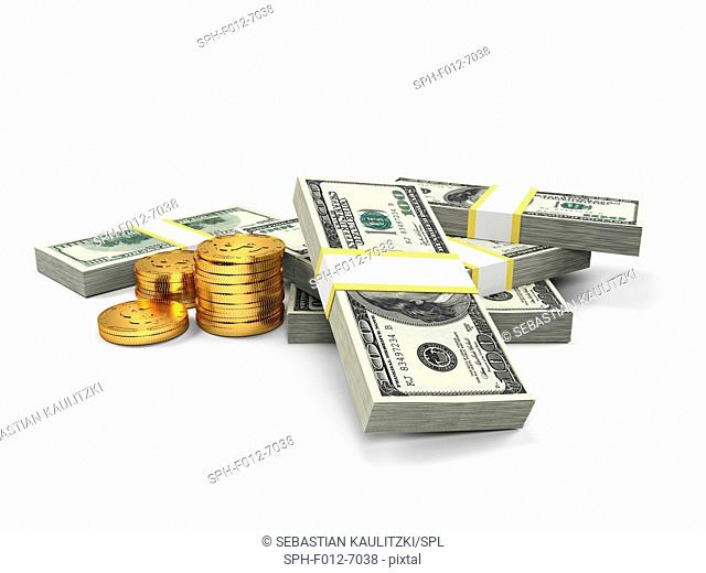 US dollars and golden coins, Illustration