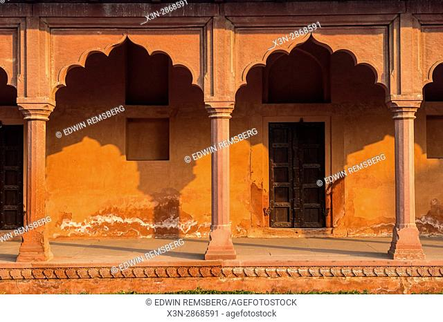 Architectural details of the Taj Mahal's complex entrance building, located in Agra, India