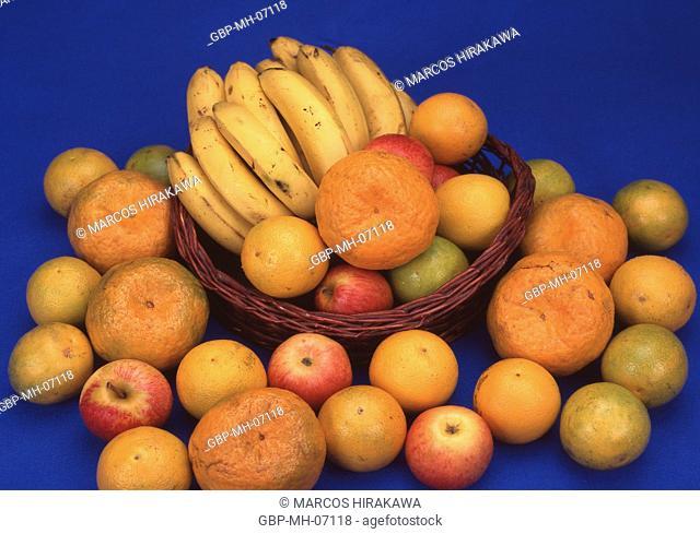 Fruit, banana, orange; Apple