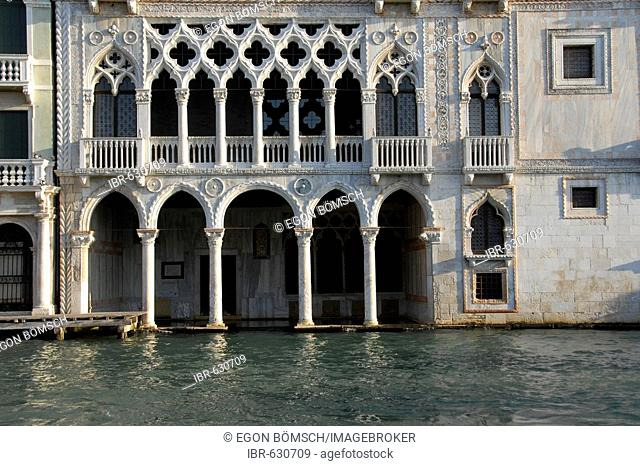 High water levels at a palace in a Venice canal, Venice, Veneto, Italy, Europe