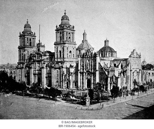 Early autotype of the Cathedral of Mexico City, Mexico, America, 1880
