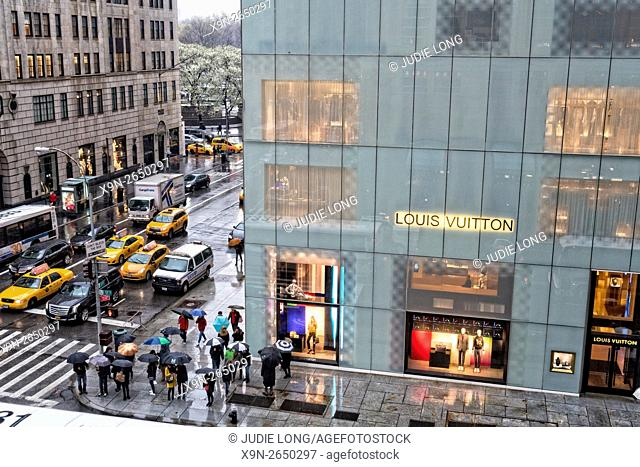 Looking Down on East 57th Street and Fifth Avenue, Manhattan, New York City, on a Rainy Day
