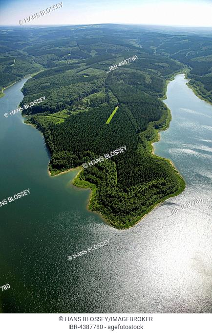 Aerial photograph of reservoir, Wehebachtalsperre, sunlight reflection, Hürtgenwald, Rhineland, North Rhine-Westphalia, Germany